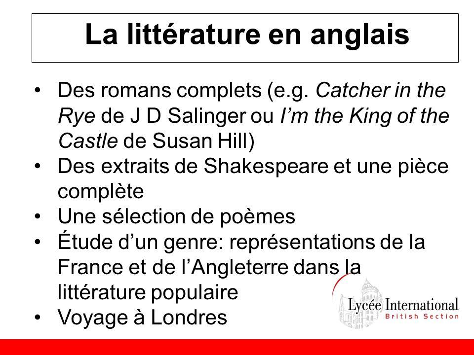 La littérature en anglais •Des romans complets (e.g.