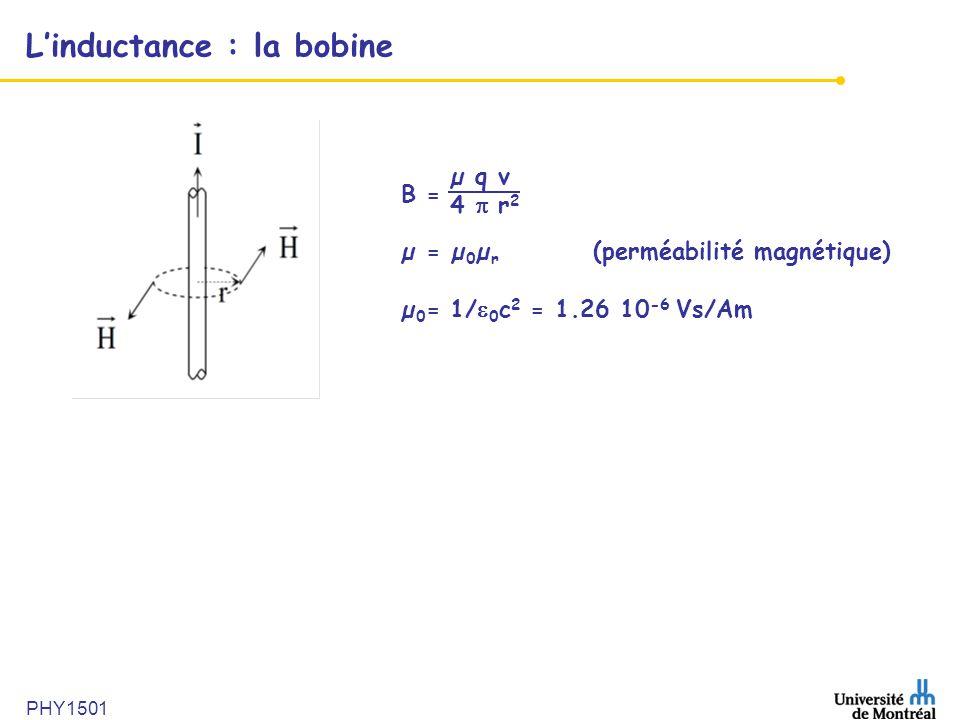 PHY1501 L'inductance : la bobine B = µ = µ 0 µ r (perméabilité magnétique) µ 0 = 1/  0 c 2 = 1.26 10 -6 Vs/Am µ q v 4  r 2