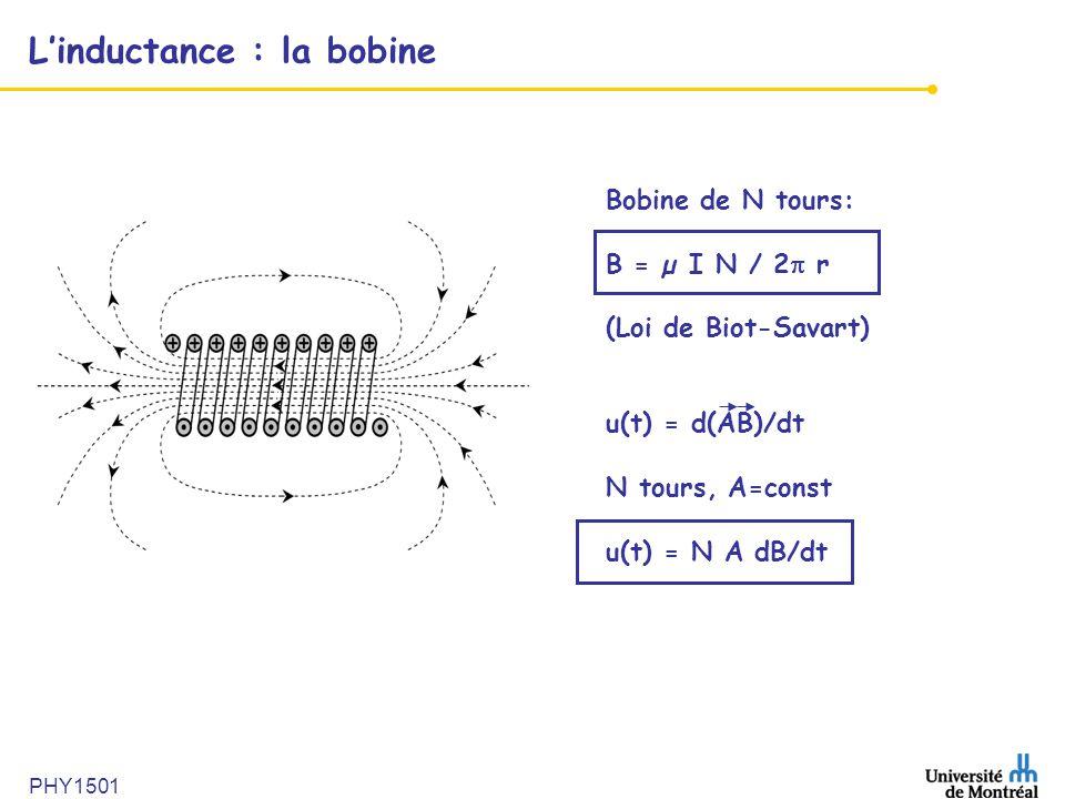 PHY1501 L'inductance : la bobine Bobine de N tours: B = µ I N / 2  r (Loi de Biot-Savart) u(t) = d(AB)/dt N tours, A=const u(t) = N A dB/dt