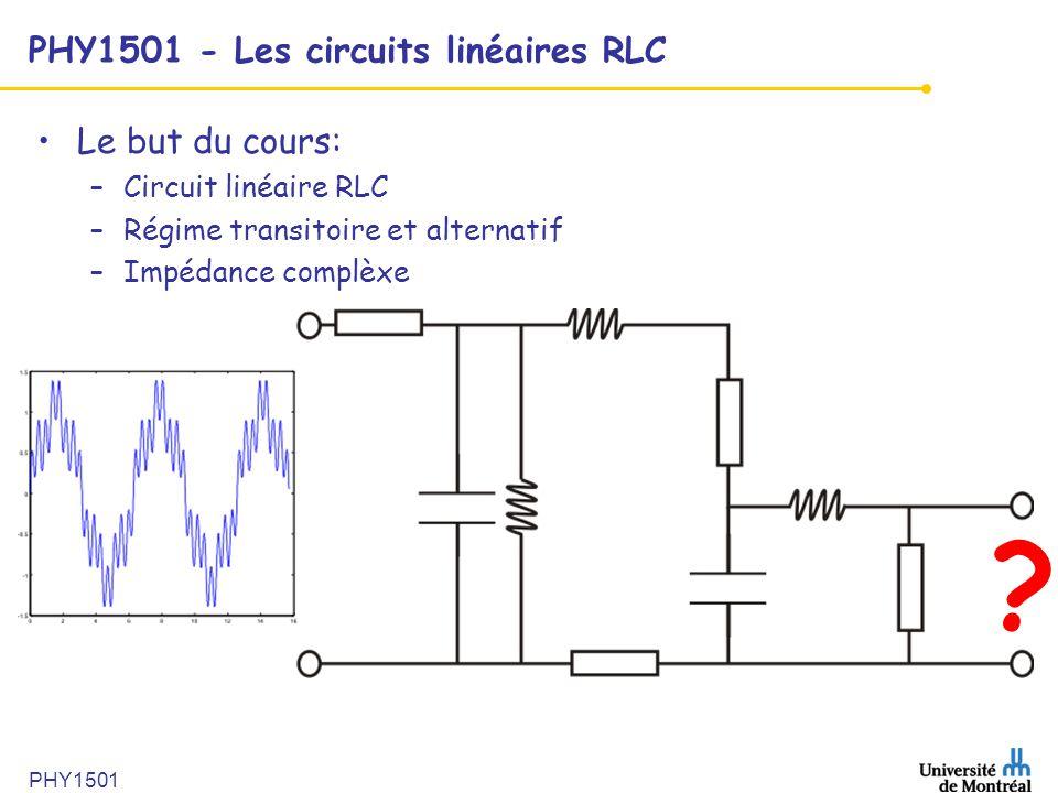 PHY1501 PHY1501 - Les circuits linéaires RLC •Le but du cours: –Circuit linéaire RLC –Régime transitoire et alternatif –Impédance complèxe ?