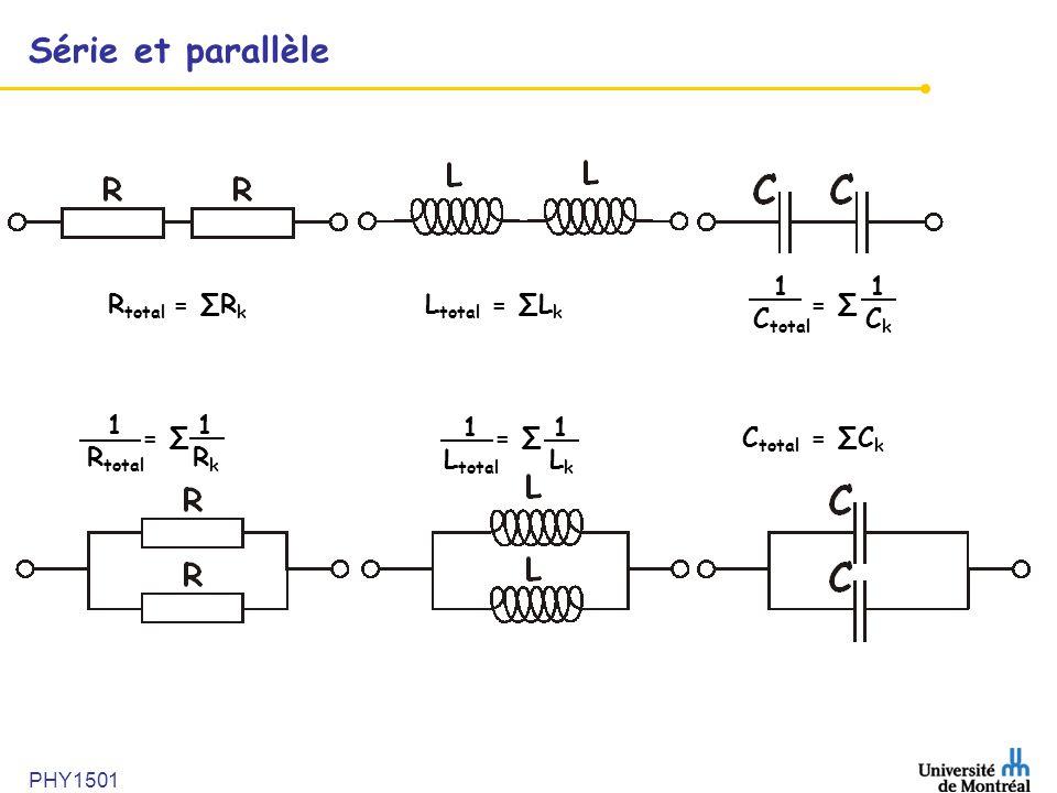 PHY1501 Série et parallèle R total = ∑R k L total = ∑L k = ∑ 1Ck1Ck = ∑ = ∑C total = ∑C k 1 C total 1 R total 1Rk1Rk 1 L total 1Lk1Lk