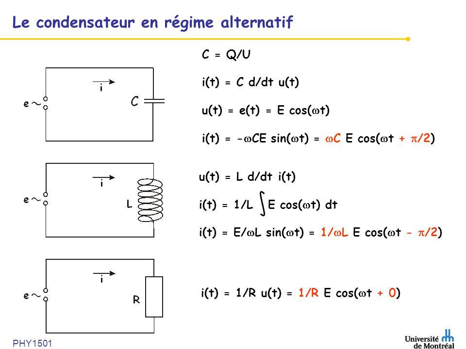 PHY1501 Le condensateur en régime alternatif C = Q/U i(t) = C d/dt u(t) u(t) = e(t) = E cos(  t) i(t) = -  CE sin(  t) =  C E cos(  t +  /2) u(t