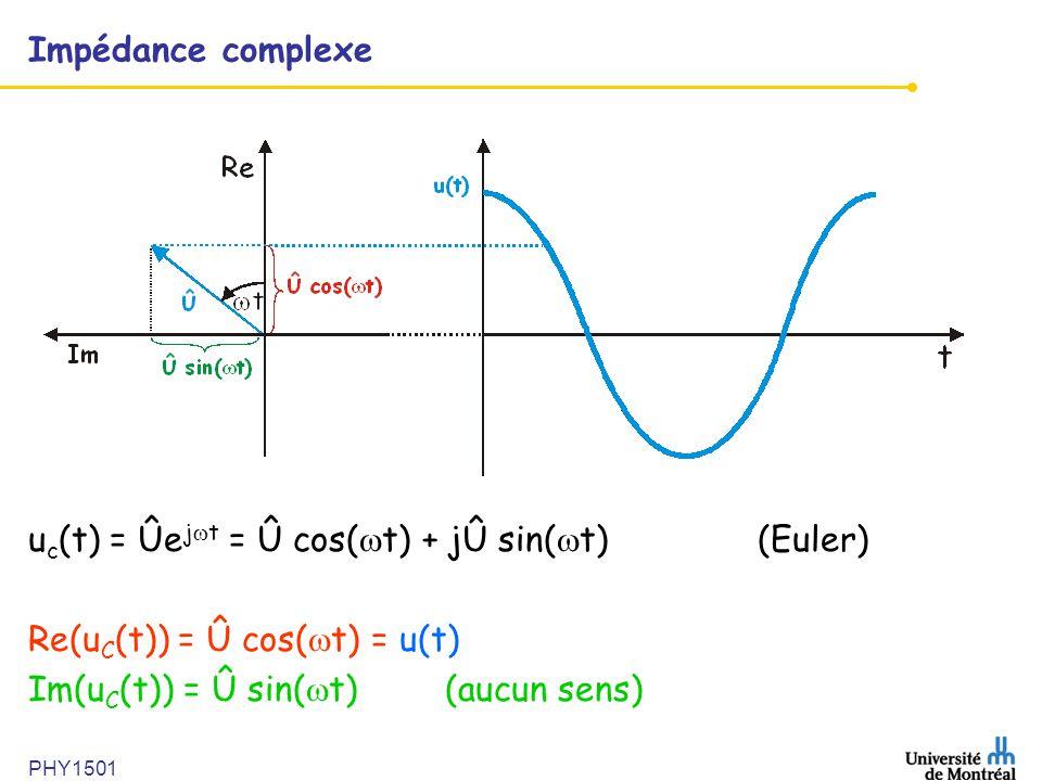 PHY1501 Impédance complexe u c (t) = Ûe j  t = Û cos(  t) + jÛ sin(  t) (Euler) Re(u C (t)) = Û cos(  t) = u(t) Im(u C (t)) = Û sin(  t) (aucun s