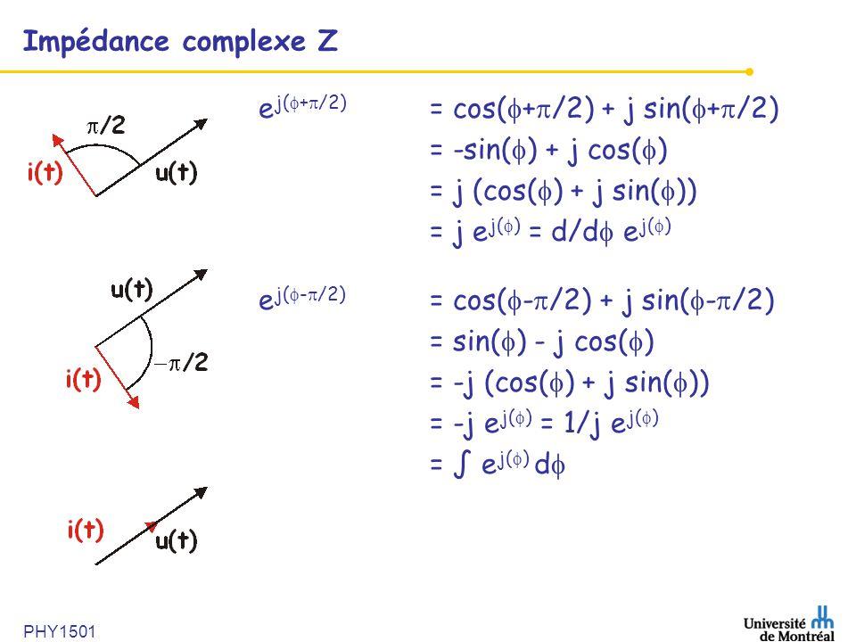 PHY1501 Impédance complexe Z e j(  +  /2) = cos(  +  /2) + j sin(  +  /2) = -sin(  ) + j cos(  ) = j (cos(  ) + j sin(  )) = j e j(  ) = d/
