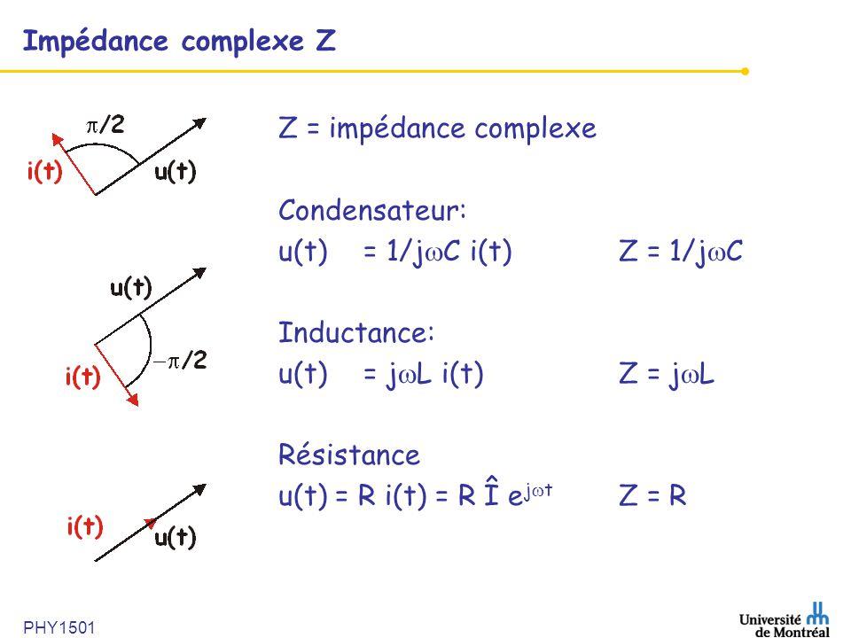 PHY1501 Impédance complexe Z Z = impédance complexe Condensateur: u(t) = 1/j  C i(t)Z = 1/j  C Inductance: u(t)= j  L i(t)Z = j  L Résistance u(t)