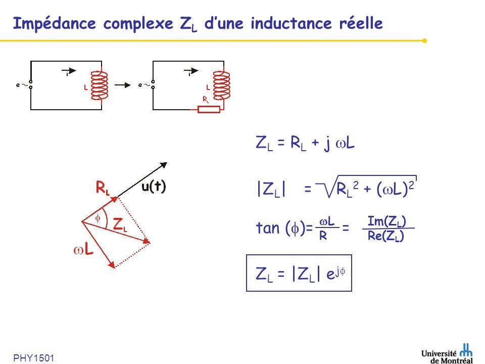 PHY1501 Impédance complexe Z L d'une inductance réelle Z L = R L + j  L |Z L | = R L 2 + (  L) 2 tan (  )= = Z L = |Z L | e j   LIm(Z L ) RRe(Z L