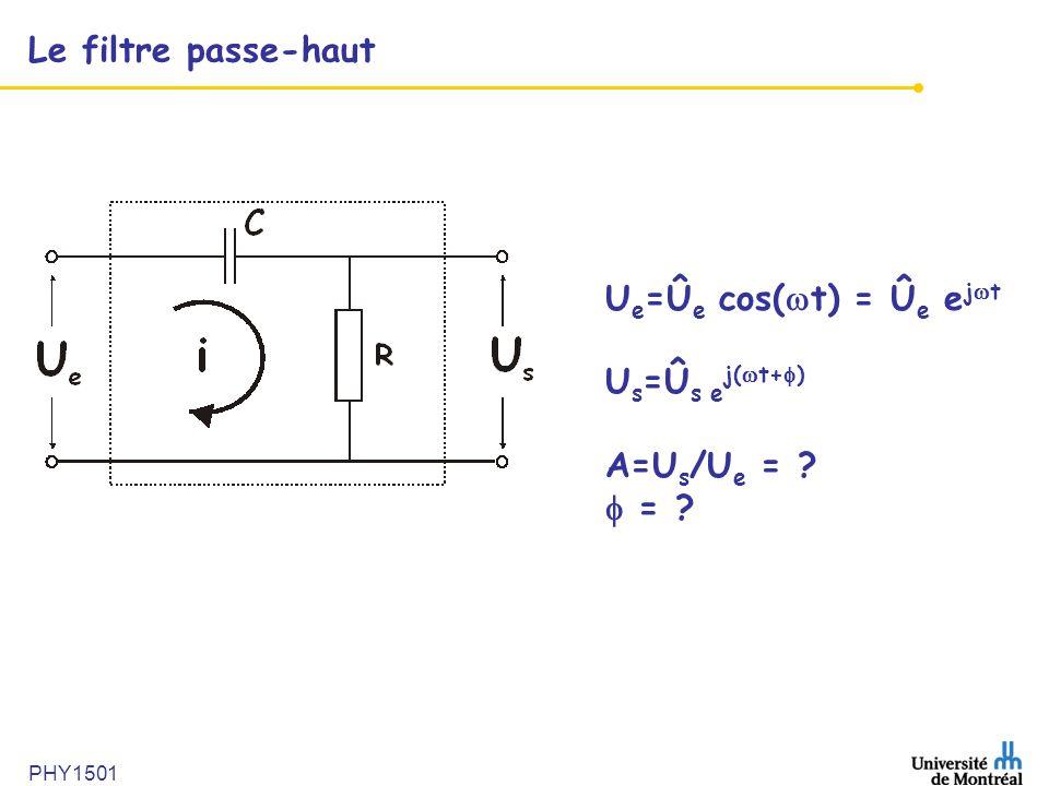 PHY1501 Le filtre passe-haut U e =Û e cos(  t) = Û e e j  t U s =Û s e j(  t+  ) A=U s /U e = ?  = ?