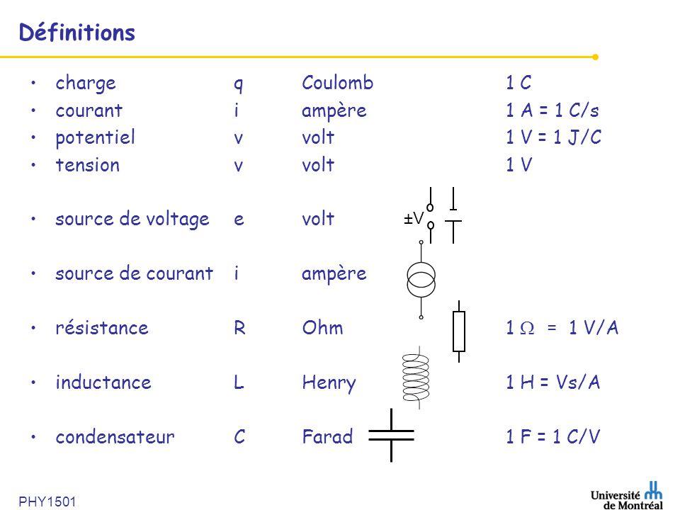 PHY1501 Définitions •chargeqCoulomb1 C •courantiampère1 A = 1 C/s •potentielvvolt1 V = 1 J/C •tensionvvolt1 V •source de voltage evolt •source de cour