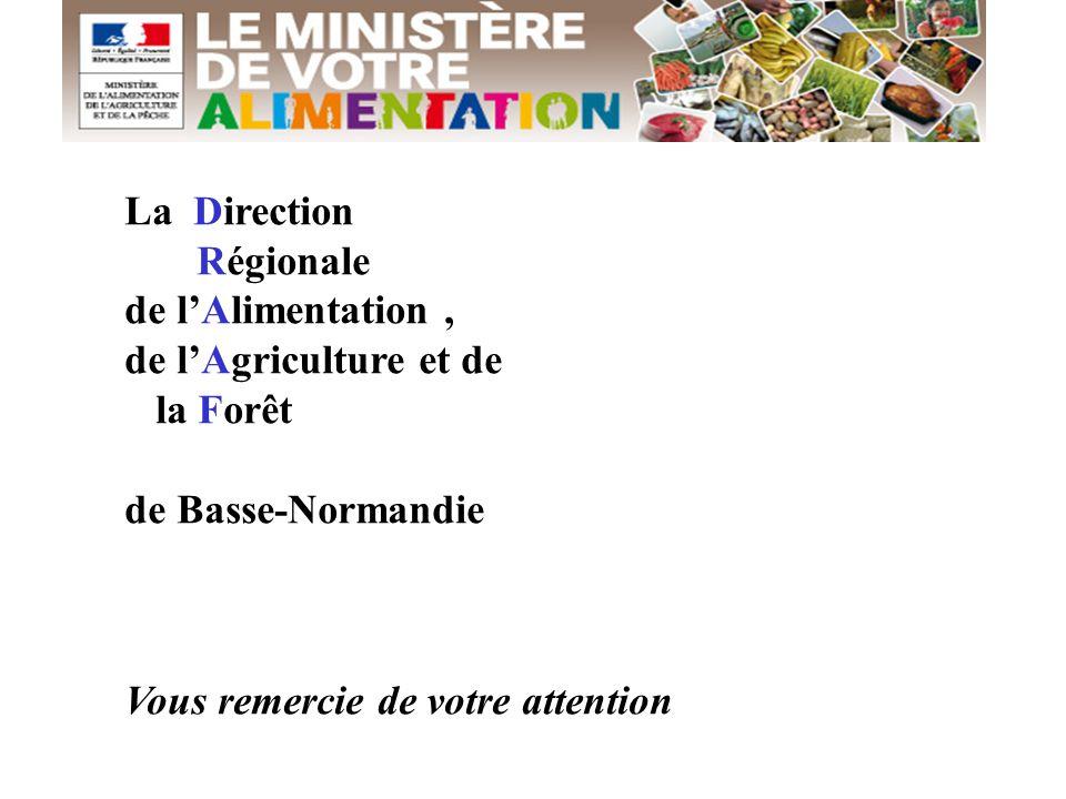 La Direction Régionale de l'Alimentation, de l'Agriculture et de la Forêt de Basse-Normandie Vous remercie de votre attention