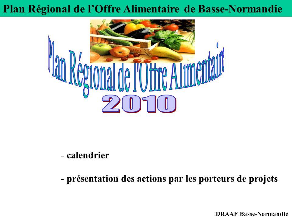 Plan Régional de l'Offre Alimentaire de Basse-Normandie DRAAF Basse-Normandie - calendrier - présentation des actions par les porteurs de projets