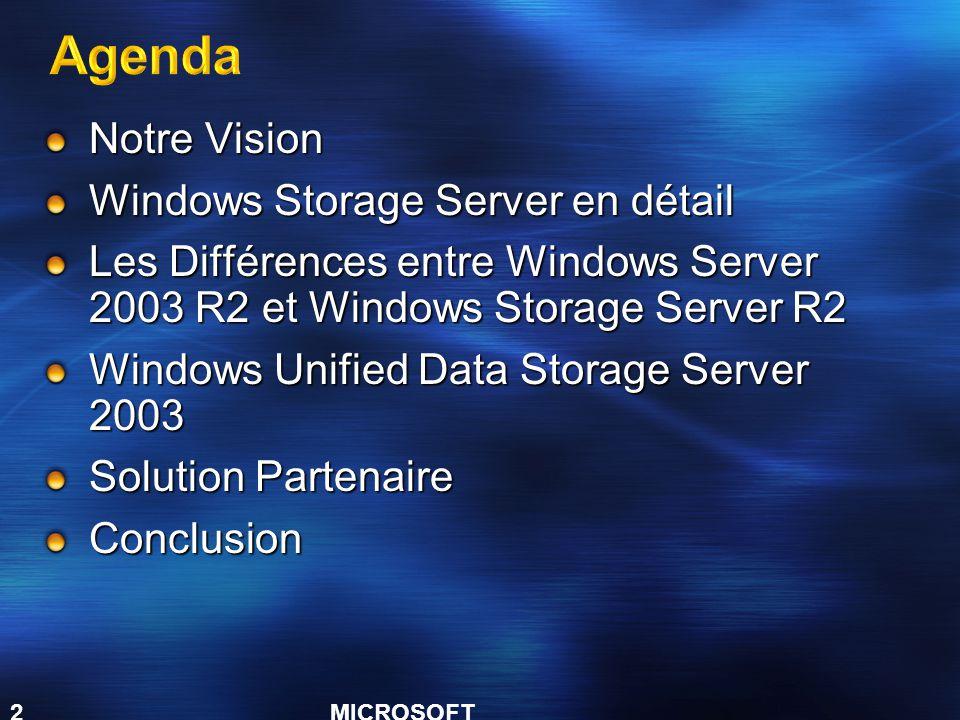 MICROSOFT CONFIDENTIAL 2 Notre Vision Windows Storage Server en détail Les Différences entre Windows Server 2003 R2 et Windows Storage Server R2 Windows Unified Data Storage Server 2003 Solution Partenaire Conclusion