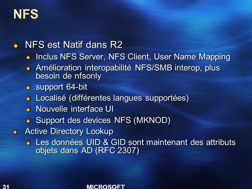 MICROSOFT CONFIDENTIAL 31 NFS est Natif dans R2 Inclus NFS Server, NFS Client, User Name Mapping Amélioration interopabilité NFS/SMB interop, plus besoin de nfsonly support 64-bit Localisé (différentes langues supportées) Nouvelle interface UI Support des devices NFS (MKNOD) Active Directory Lookup Les données UID & GID sont maintenant des attributs objets dans AD (RFC 2307)