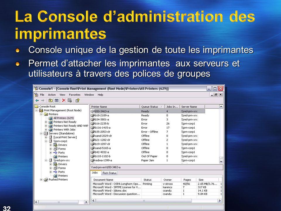 MICROSOFT CONFIDENTIAL 32 Console unique de la gestion de toute les imprimantes Permet d'attacher les imprimantes aux serveurs et utilisateurs à travers des polices de groupes