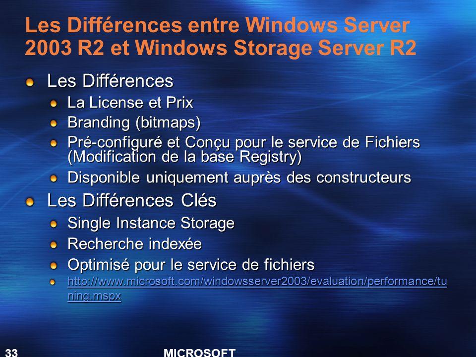MICROSOFT CONFIDENTIAL 33 Les Différences La License et Prix Branding (bitmaps) Pré-configuré et Conçu pour le service de Fichiers (Modification de la base Registry) Disponible uniquement auprès des constructeurs Les Différences Clés Single Instance Storage Recherche indexée Optimisé pour le service de fichiers http://www.microsoft.com/windowsserver2003/evaluation/performance/tu ning.mspx http://www.microsoft.com/windowsserver2003/evaluation/performance/tu ning.mspx Les Différences entre Windows Server 2003 R2 et Windows Storage Server R2