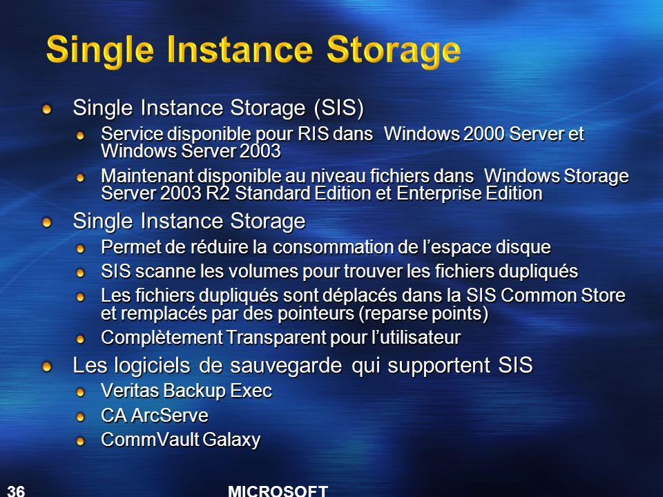 MICROSOFT CONFIDENTIAL 36 Single Instance Storage (SIS) Service disponible pour RIS dans Windows 2000 Server et Windows Server 2003 Maintenant disponi