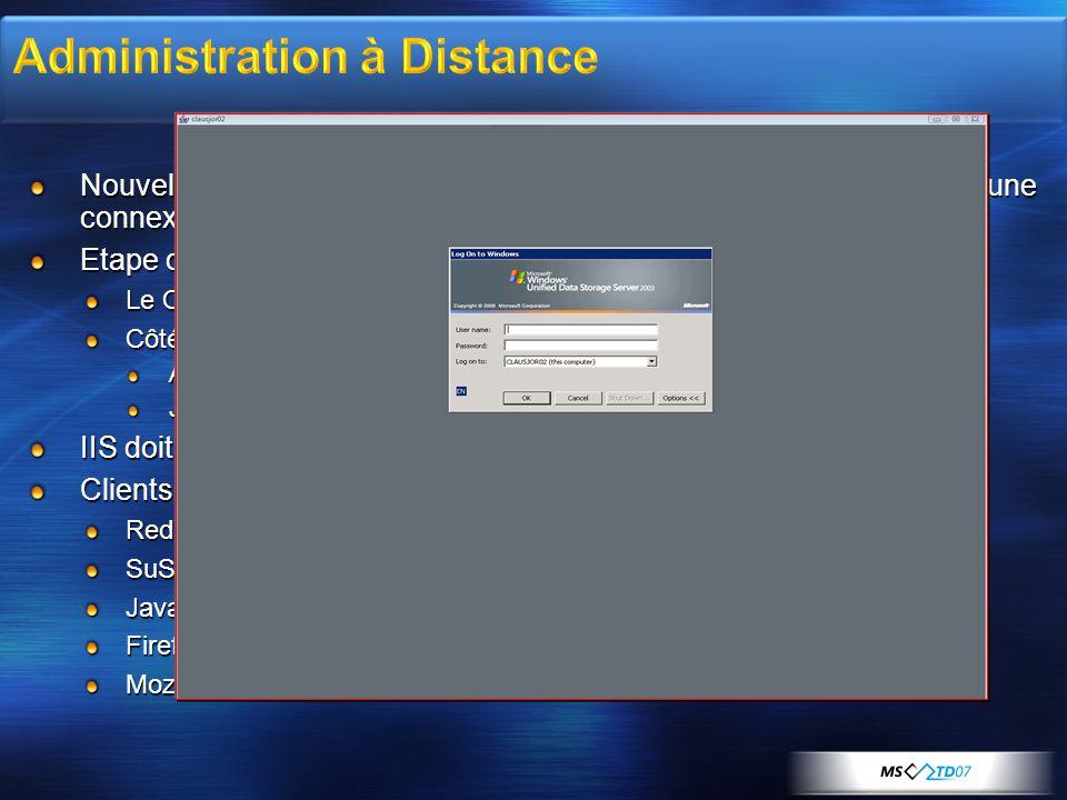 Nouvelle applet Java pour les machines non-Microsoft afin d'établir une connexion TS Etape de Connexion Le Client se connecte via http://servername/admin http://servername/admin Côté serveur détection du type de client : ActiveX RDP pour client Windows Java RDP client if non-Windows IIS doit être installé par défaut Clients supportés : Red Hat Enterprise Linux 3 ou 4 WS SuSE Linux Enterprise Server 9 ou 10 Java 2 Runtime Environment 1.4.2 Firefox v1.0.6 ou + Mozilla v1.7.11 ou +