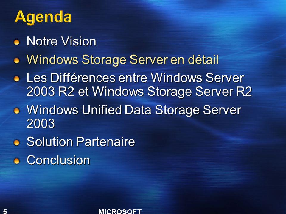 MICROSOFT CONFIDENTIAL 5 Notre Vision Windows Storage Server en détail Les Différences entre Windows Server 2003 R2 et Windows Storage Server R2 Windows Unified Data Storage Server 2003 Solution Partenaire Conclusion