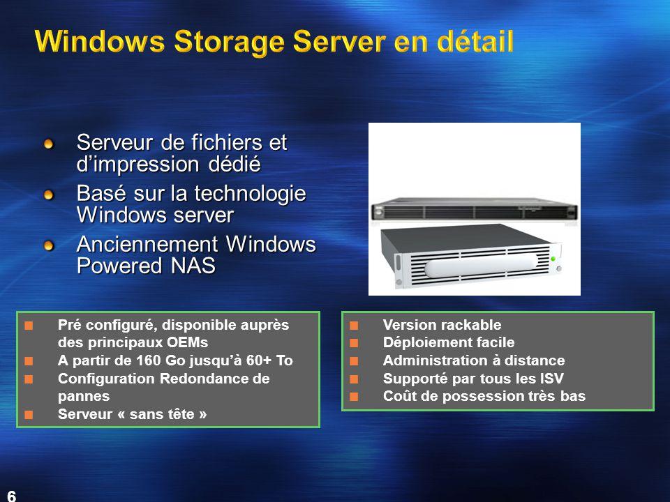 6 Serveur de fichiers et d'impression dédié Basé sur la technologie Windows server Anciennement Windows Powered NAS Pré configuré, disponible auprès d