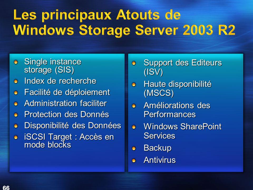 66 Single instance storage (SIS) Index de recherche Facilité de déploiement Administration faciliter Protection des Donnés Disponibilité des Données iSCSI Target : Accès en mode blocks Support des Editeurs (ISV) Haute disponibilité (MSCS) Améliorations des Performances Windows SharePoint Services BackupAntivirus
