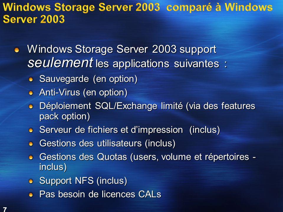 7 Windows Storage Server 2003 support seulement les applications suivantes : Sauvegarde (en option) Anti-Virus (en option) Déploiement SQL/Exchange limité (via des features pack option) Serveur de fichiers et d'impression (inclus) Gestions des utilisateurs (inclus) Gestions des Quotas (users, volume et répertoires - inclus) Support NFS (inclus) Pas besoin de licences CALs