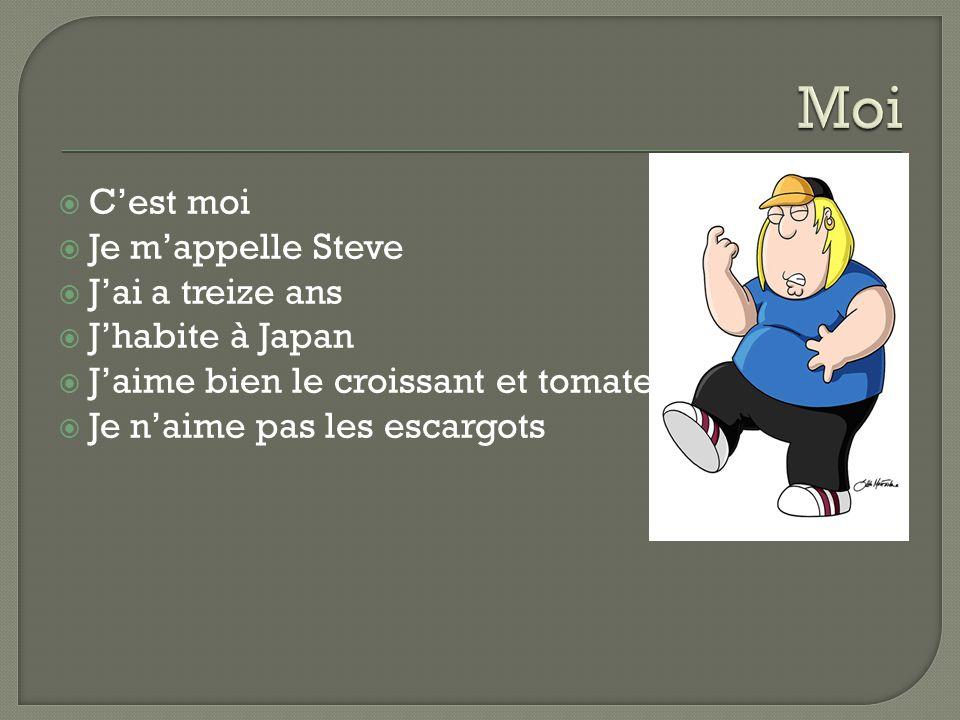  C'est moi  Je m'appelle Steve  J'ai a treize ans  J'habite à Japan  J'aime bien le croissant et tomate  Je n'aime pas les escargots
