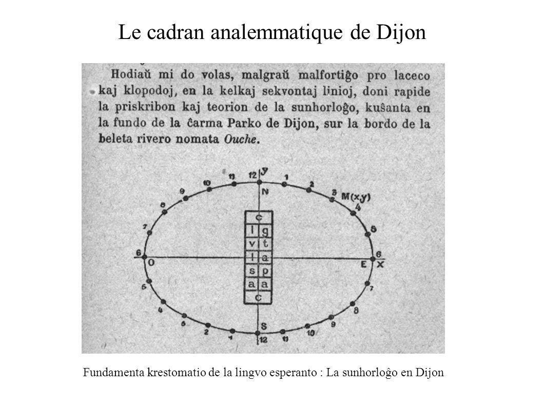 Le cadran analemmatique de Dijon Fundamenta krestomatio de la lingvo esperanto : La sunhorloĝo en Dijon