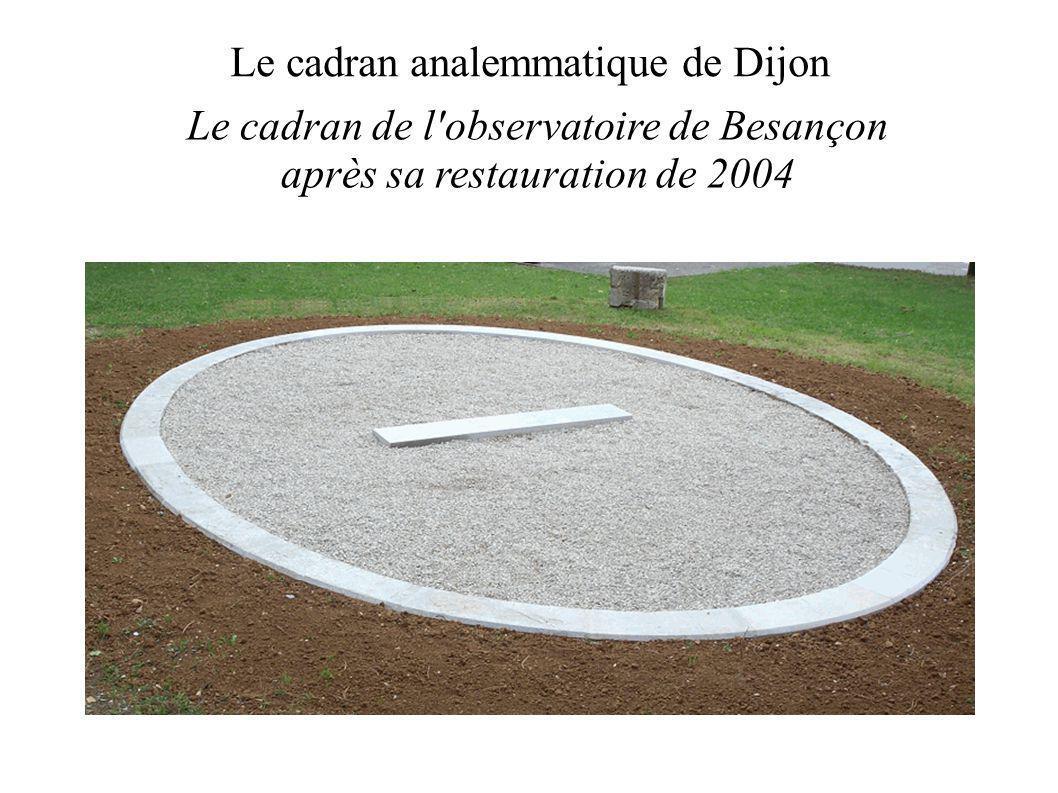 Le cadran analemmatique de Dijon Le cadran de l observatoire de Besançon après sa restauration de 2004