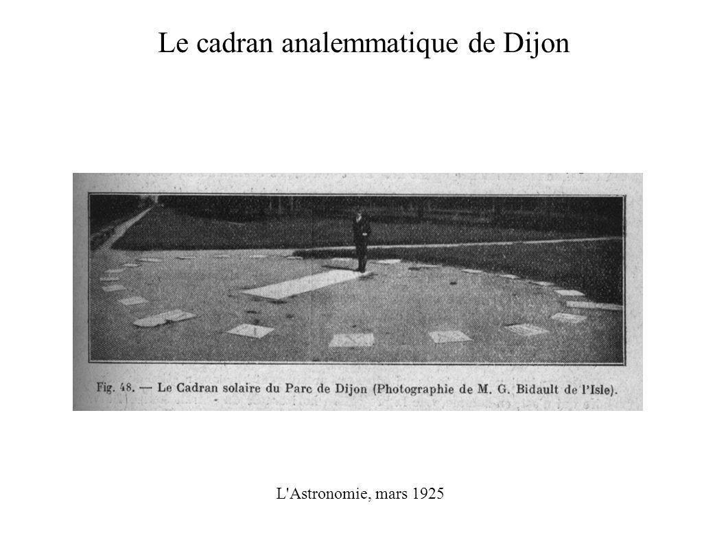 Le cadran analemmatique de Dijon L Astronomie, mars 1925