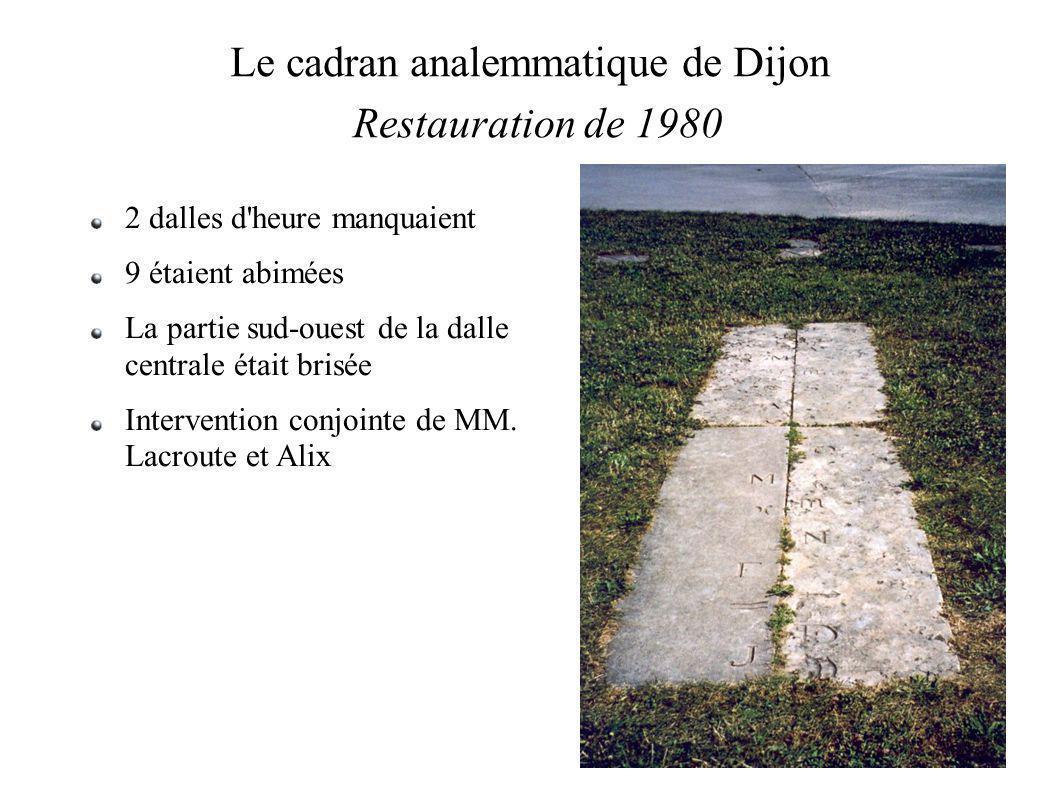Le cadran analemmatique de Dijon Restauration de 1980 2 dalles d heure manquaient 9 étaient abimées La partie sud-ouest de la dalle centrale était brisée Intervention conjointe de MM.