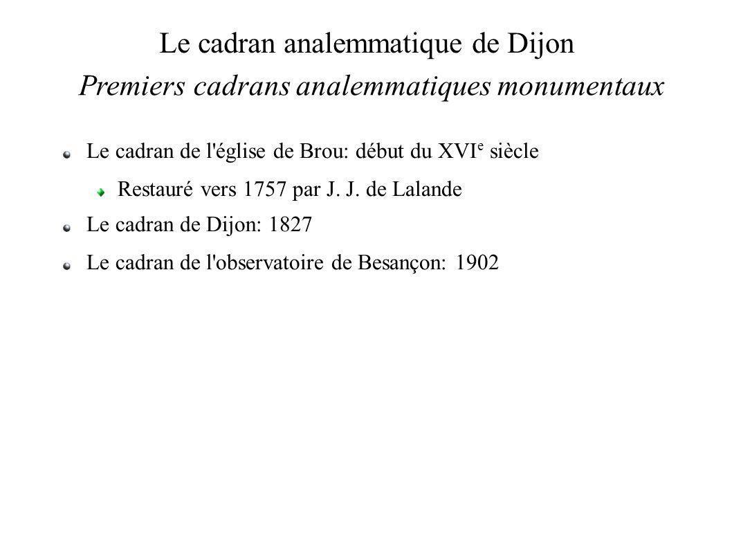 Le cadran analemmatique de Dijon Premiers cadrans analemmatiques monumentaux Le cadran de l église de Brou: début du XVI e siècle Restauré vers 1757 par J.