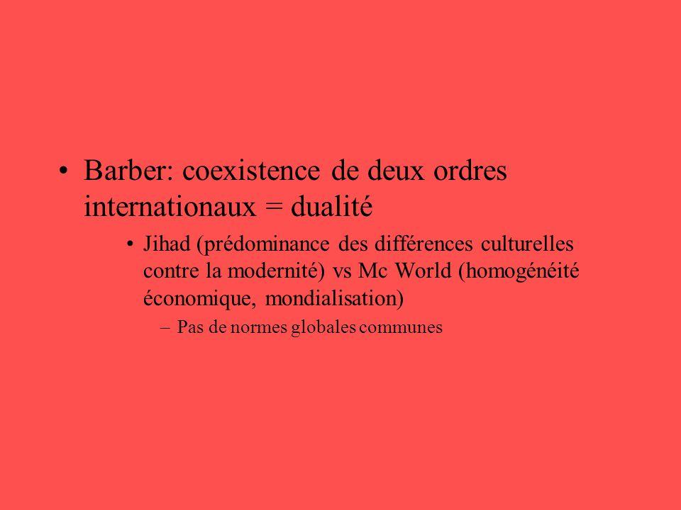 •Barber: coexistence de deux ordres internationaux = dualité •Jihad (prédominance des différences culturelles contre la modernité) vs Mc World (homogé