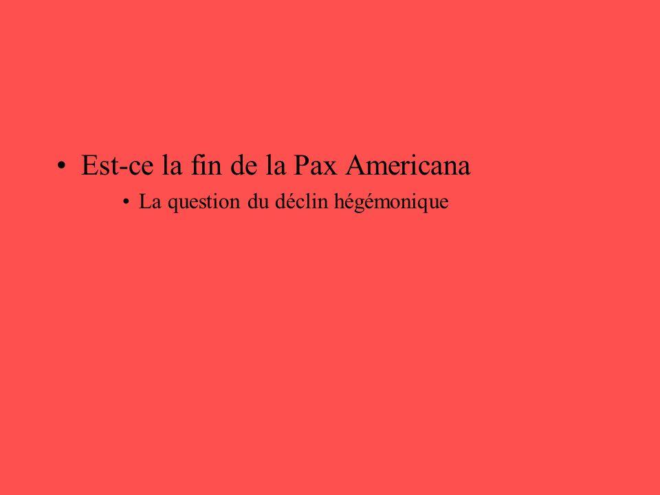 •Est-ce la fin de la Pax Americana •La question du déclin hégémonique