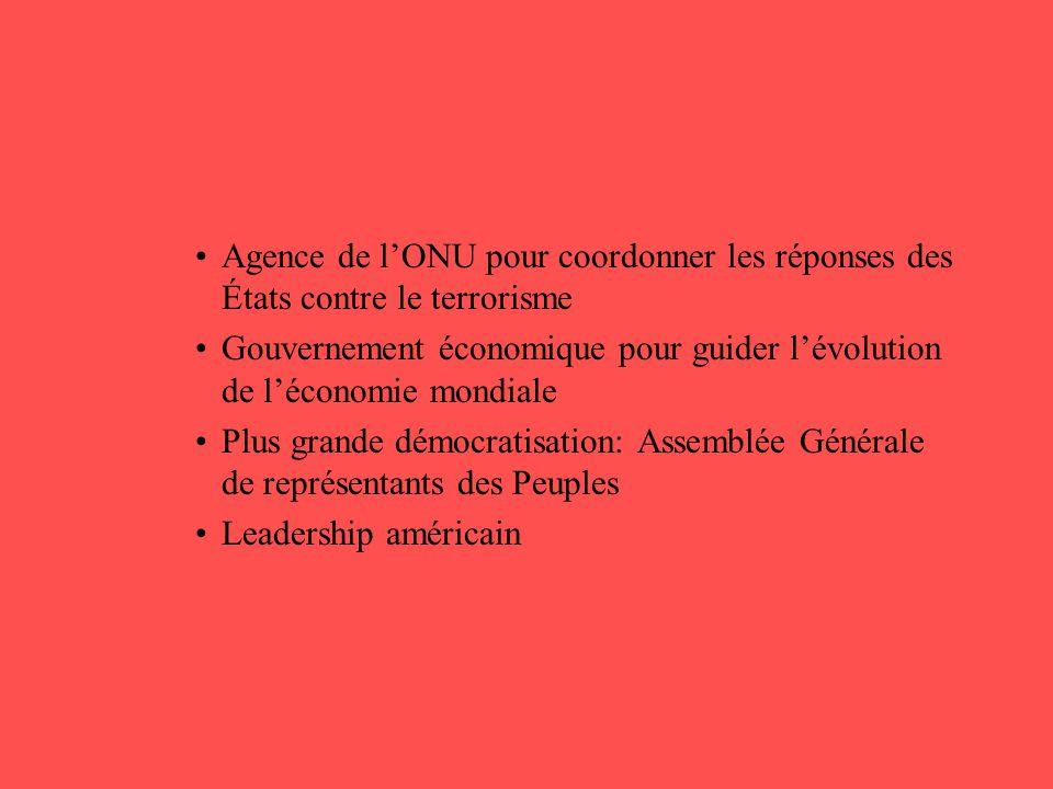 •Agence de l'ONU pour coordonner les réponses des États contre le terrorisme •Gouvernement économique pour guider l'évolution de l'économie mondiale •