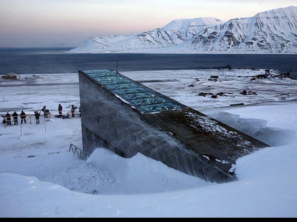 L entrée du coffre a une conception futuriste avec quelques miroirs métalliques qui réfléchissent le soleil durant le jour et brillent dans l obscurité de la nuit, conçu par l artiste norvégienne Dyveke Sanne.