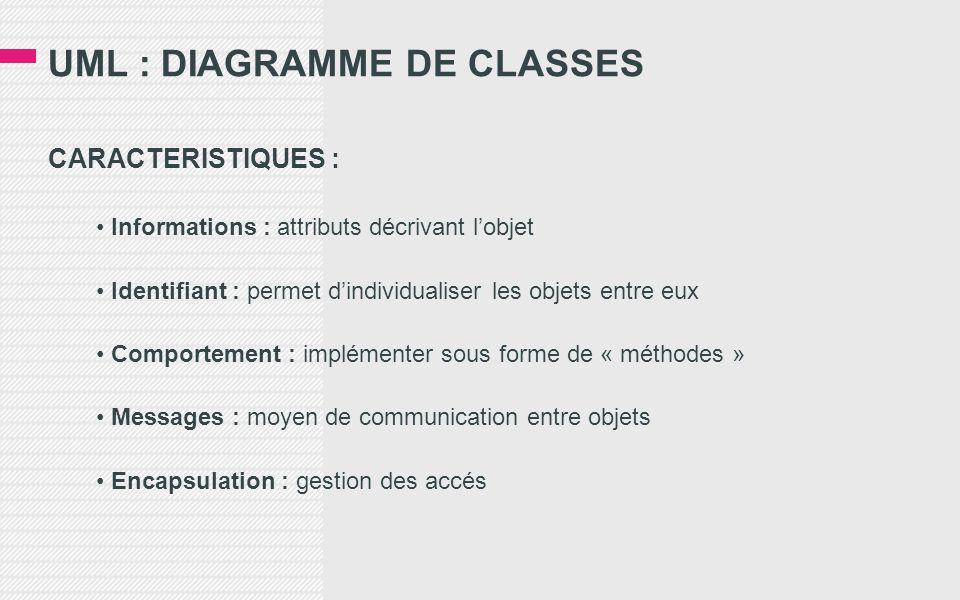 UML : DIAGRAMME DE CLASSES CARACTERISTIQUES : • Informations : attributs décrivant l'objet • Identifiant : permet d'individualiser les objets entre eux • Comportement : implémenter sous forme de « méthodes » • Messages : moyen de communication entre objets • Encapsulation : gestion des accés