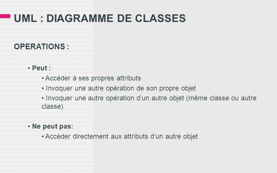 UML : DIAGRAMME DE CLASSES OPERATIONS : • Peut : • Accéder à ses propres attributs • Invoquer une autre opération de son propre objet • Invoquer une autre opération d'un autre objet (même classe ou autre classe) • Ne peut pas: • Accéder directement aux attributs d'un autre objet