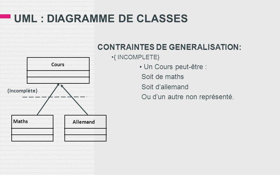 UML : DIAGRAMME DE CLASSES CONTRAINTES DE GENERALISATION: •{ INCOMPLETE} • Un Cours peut-être : Soit de maths Soit d'allemand Ou d'un autre non représenté.