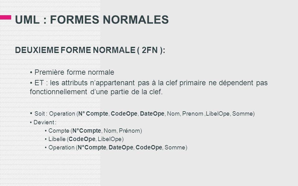UML : FORMES NORMALES DEUXIEME FORME NORMALE ( 2FN ): • Première forme normale • ET : les attributs n'appartenant pas à la clef primaire ne dépendent pas fonctionnellement d'une partie de la clef.