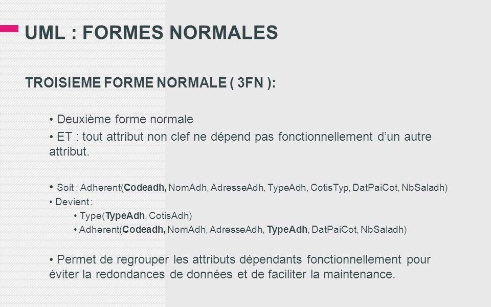 UML : FORMES NORMALES TROISIEME FORME NORMALE ( 3FN ): • Deuxième forme normale • ET : tout attribut non clef ne dépend pas fonctionnellement d'un autre attribut.