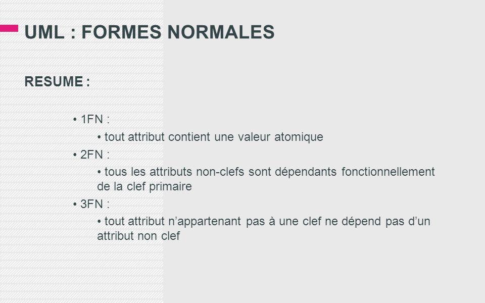UML : FORMES NORMALES RESUME : • 1FN : • tout attribut contient une valeur atomique • 2FN : • tous les attributs non-clefs sont dépendants fonctionnellement de la clef primaire • 3FN : • tout attribut n'appartenant pas à une clef ne dépend pas d'un attribut non clef