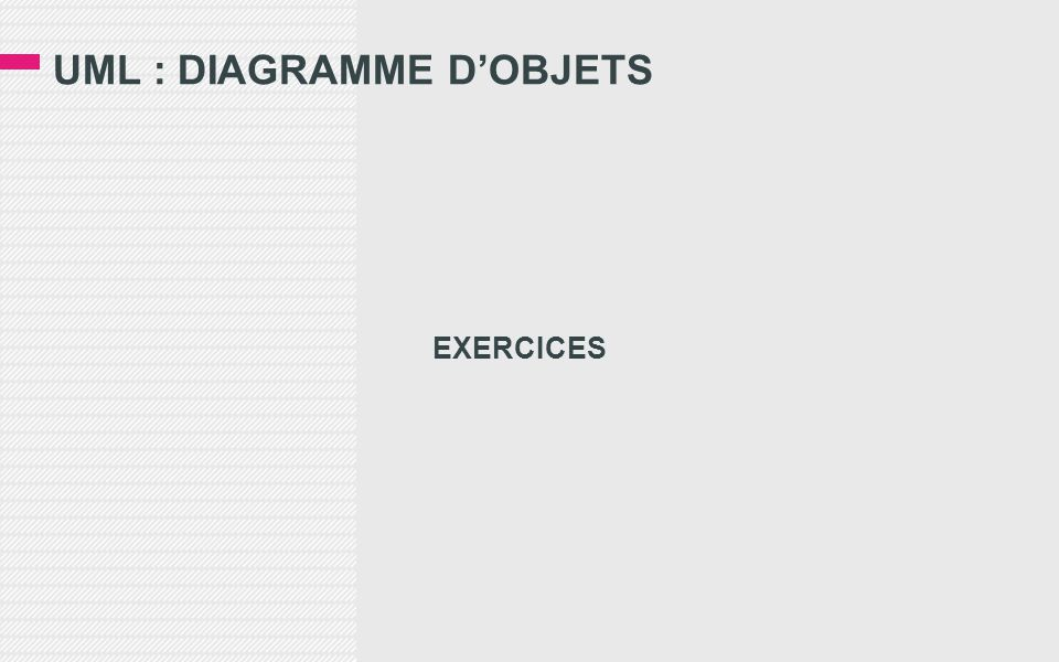 UML : DIAGRAMME D'OBJETS EXERCICES