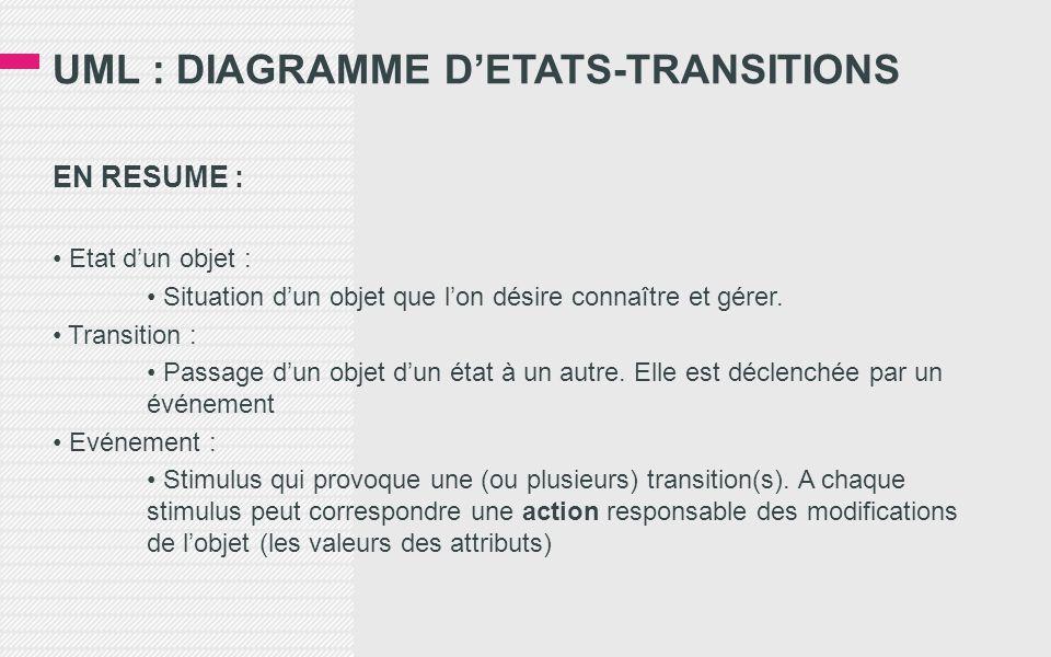 UML : DIAGRAMME D'ETATS-TRANSITIONS EN RESUME : • Etat d'un objet : • Situation d'un objet que l'on désire connaître et gérer.