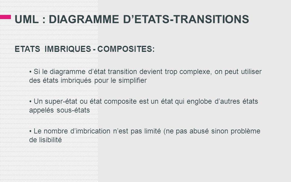 UML : DIAGRAMME D'ETATS-TRANSITIONS ETATS IMBRIQUES - COMPOSITES: • Si le diagramme d'état transition devient trop complexe, on peut utiliser des états imbriqués pour le simplifier • Un super-état ou état composite est un état qui englobe d'autres états appelés sous-états • Le nombre d'imbrication n'est pas limité (ne pas abusé sinon problème de lisibilité