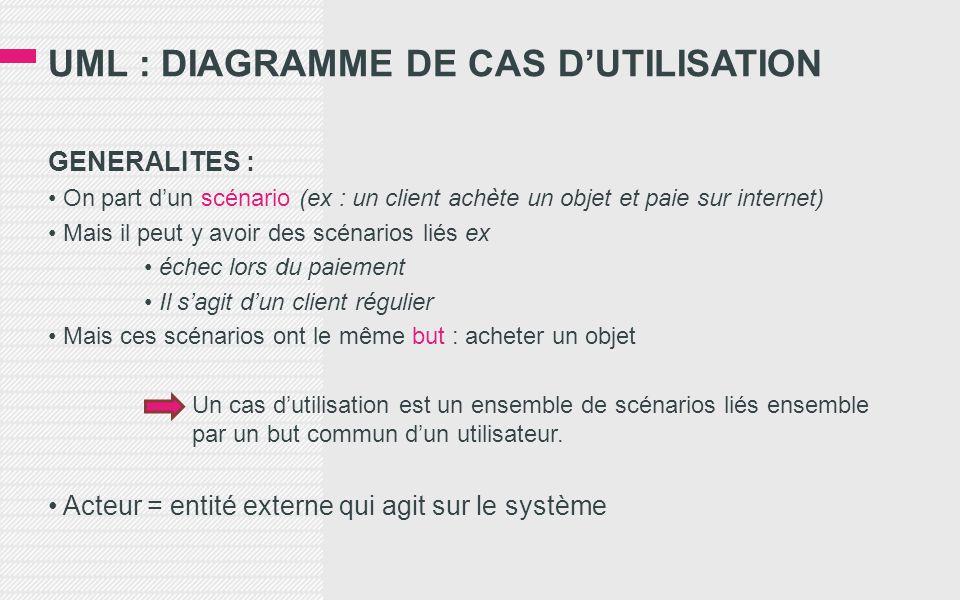 UML : DIAGRAMME DE CAS D'UTILISATION GENERALITES : • On part d'un scénario (ex : un client achète un objet et paie sur internet) • Mais il peut y avoir des scénarios liés ex • échec lors du paiement • Il s'agit d'un client régulier • Mais ces scénarios ont le même but : acheter un objet Un cas d'utilisation est un ensemble de scénarios liés ensemble par un but commun d'un utilisateur.