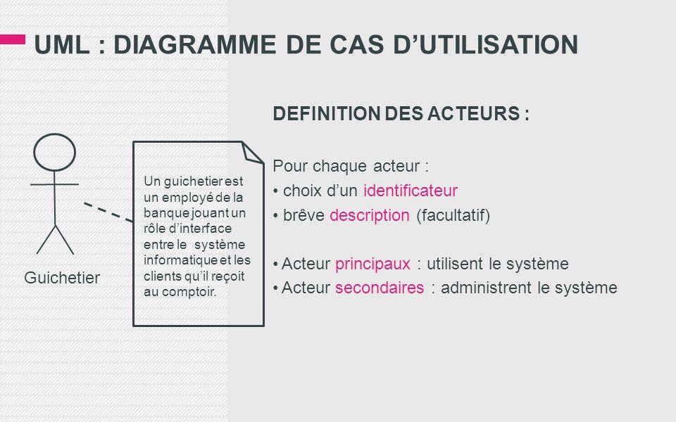 UML : DIAGRAMME DE CAS D'UTILISATION DEFINITION DES ACTEURS : Pour chaque acteur : • choix d'un identificateur • brêve description (facultatif) • Acteur principaux : utilisent le système • Acteur secondaires : administrent le système Guichetier Un guichetier est un employé de la banque jouant un rôle d'interface entre le système informatique et les clients qu'il reçoit au comptoir.