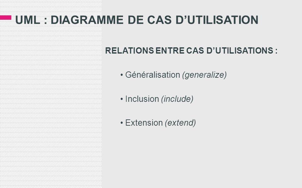 UML : DIAGRAMME DE CAS D'UTILISATION RELATIONS ENTRE CAS D'UTILISATIONS : • Généralisation (generalize) • Inclusion (include) • Extension (extend)