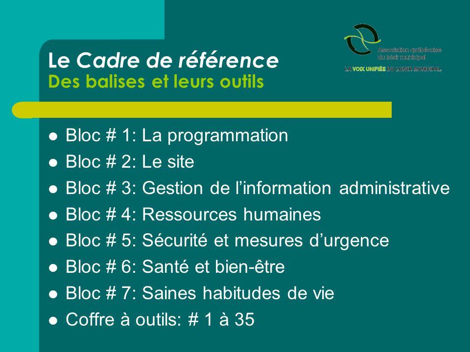 Le Cadre de référence Des balises et leurs outils  Bloc # 1: La programmation  Bloc # 2: Le site  Bloc # 3: Gestion de l'information administrative  Bloc # 4: Ressources humaines  Bloc # 5: Sécurité et mesures d'urgence  Bloc # 6: Santé et bien-être  Bloc # 7: Saines habitudes de vie  Coffre à outils: # 1 à 35