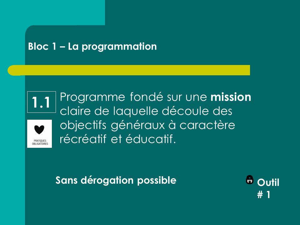 Programme fondé sur une mission claire de laquelle découle des objectifs généraux à caractère récréatif et éducatif.