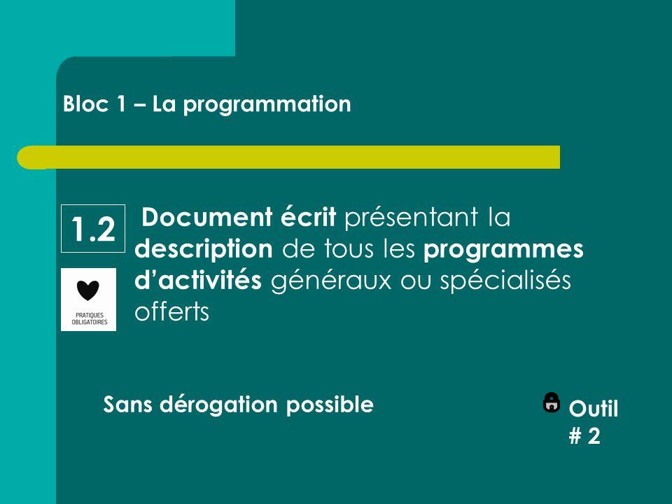 Document écrit présentant la description de tous les programmes d'activités généraux ou spécialisés offerts Sans dérogation possible Outil # 2 Bloc 1 – La programmation 1.2
