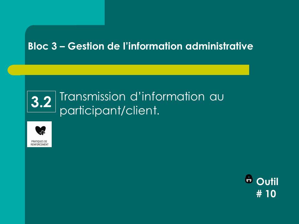 Transmission d'information au participant/client.